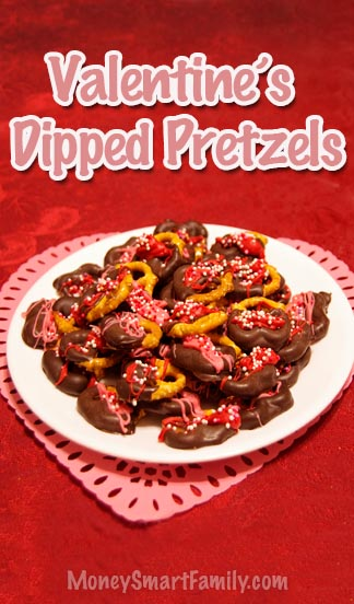 Valentine Dipped Pretzels on a white plate.