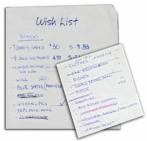 Wish list of things to purchase.