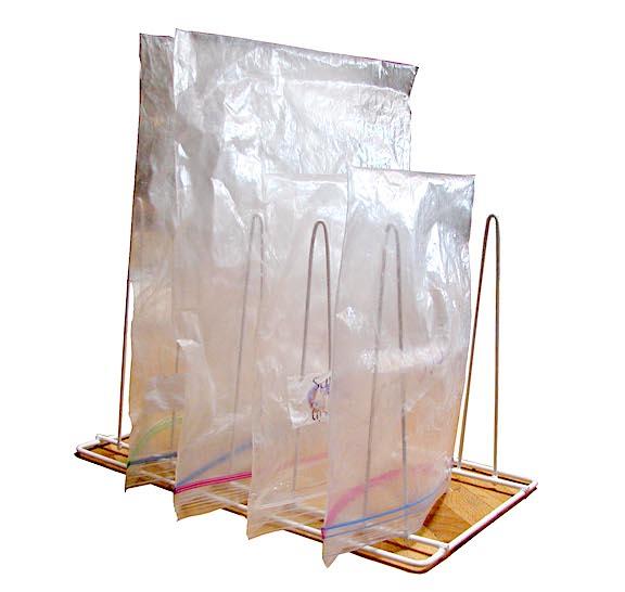 Ziplock bags on a drying rack.