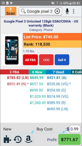Profit Bandit app screen shot for buying and reselling.