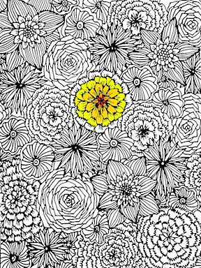 Alisa Burke adult coloring pages - flowers.