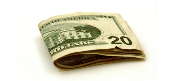 Several $20 bills folded in half.
