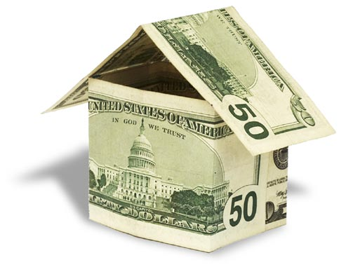 Two fifty dollar bills folded into the shape of a house.