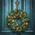 Christmas wreath on a classical blue door.
