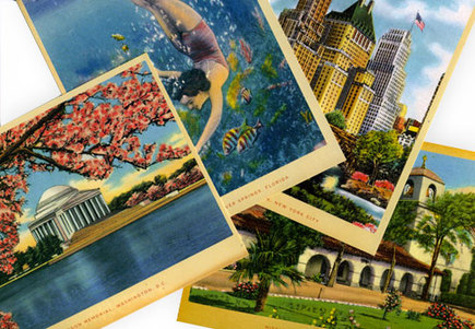 vacation postcards.