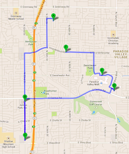 Google map with a route for errands planned in a blue highlighted line.
